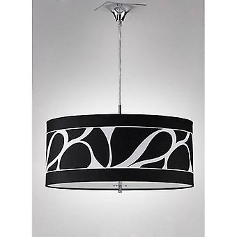 Manhattan Small Pendant Light 3 Bulbs L1 / Sgu10, Polished Chrome / Frosted Glass With Black Lampshade