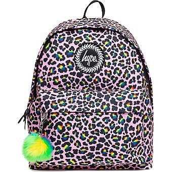 Hype Rainbow Leopard Pom Pom Backpack Bag Pink 46