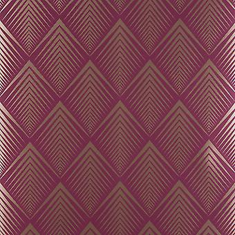 Raspberry Soprano Wallpaper Graham Brown Purple Gold Chevron Metallic