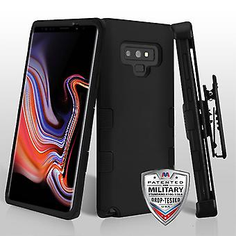 MYBAT Rubberized Black/Black TUFF Hybrid Protector Cover(w/ Holster) for Galaxy Note 9