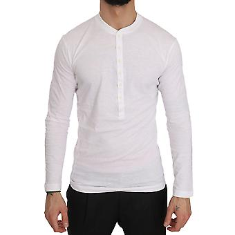 White Cotton Logo Print Henley Mens Top Sweater T-shirt -- TSH3833456