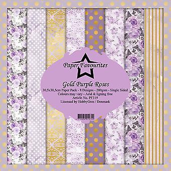 Dixi Craft Gold Purple Roses 12x12 Inch Paper Pack