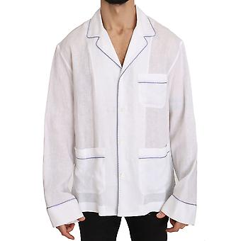 Dolce & Gabbana White Purple Linen Cotton  Shirt