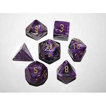 Chessex Polydice Set - Vortex Dice Purple/gold