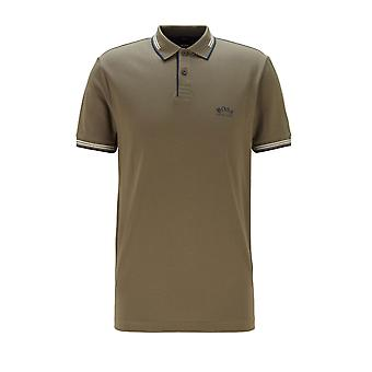 BOSS Athleisure Boss Paul Curved Polo Camicia Verde scuro/crema/navy
