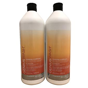 Redken Genius Wash Cleansing Conditioner Unruly Hair DUO 33.8 OZ Chacun
