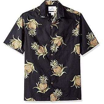 28 Palms Men's Relaxed-Fit 100% Cotton Tropical Hawaiian Shirt, Black Pineapp...