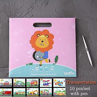 10 pcs παιδιά μηδέν ζωγραφική δημιουργική διπλή-πλευρά scratch art χαρτί εκπαιδευτικό σχέδιο παιχνίδια για τα παιδιά με στυλό