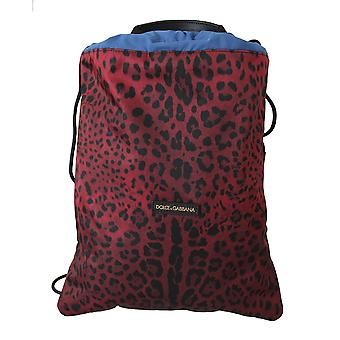Red leopard adjustable drawstring women nap sack bag
