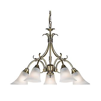 5 Light Multi Arm Ceiling Pendant Antique Brass, Frosted Glass, E14