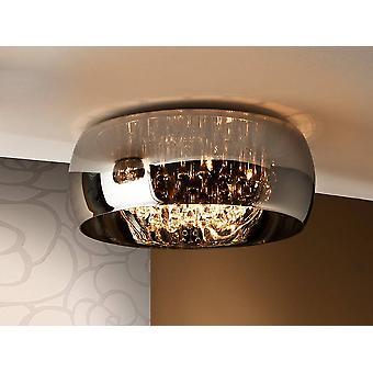 6 Licht dimmbar Crystal Flush Deckenleuchte mit Fernbedienung Chrom, Spiegel, G9