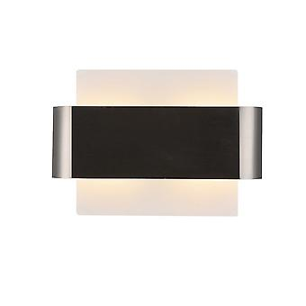 Flush Wall Light, 2 Lichte G9, Witte basis met Satin Nickel Centre Band