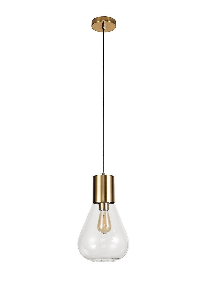 Narrow Ceiling Pendant, 1 x E27, Ancient Brass, Clear Glass