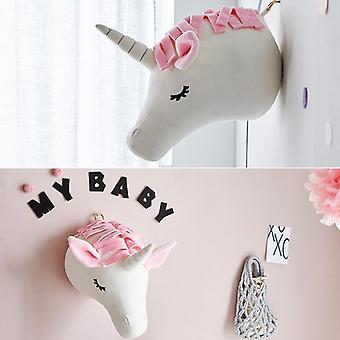 ぬいぐるみ動物は女の赤ちゃんクリスマスのための象ユニコーンの壁の装飾を頭,