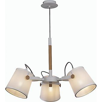Mantra Nordica Ii Pendant Lamp 3 Light White/beech With White Shades