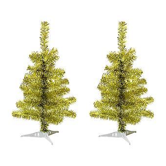 2ft keinotekoinen joulukuusi jalustalla - kulta