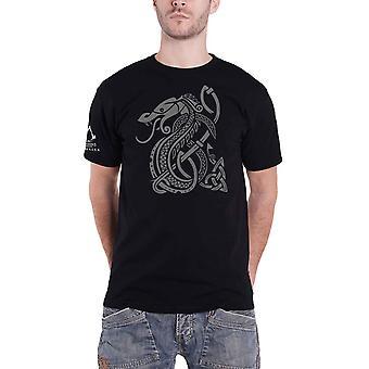 Assassins Creed Valhalla T Shirt Snake Logo nieuwe officiële Gamer Mens Zwart