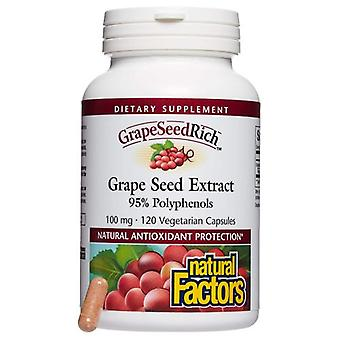 Natural Factors GrapeSeed Rich Grape Seed Extract, 100 mg, 120 Caps