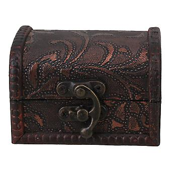 Grass Pattern Vintage Style Wooden Jewerly Necklace Bracelet Gift Case Brown