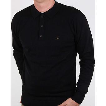 Francesco Black Long-Sleeved Knitted Polo Shirt