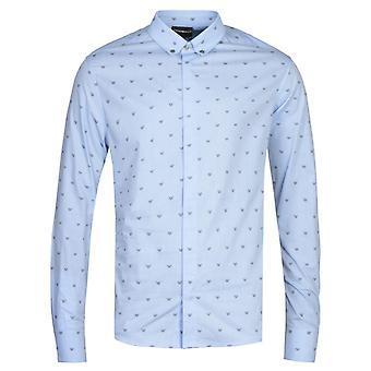 Emporio Armani All Over Eagle Slim Fit Light Blue Shirt