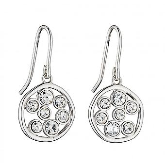 Fiorelli Silver Round Organic Crystal Diamond Earrings E5795C
