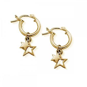 ChloBo Gold Plated Double Star Hoops GEH1128