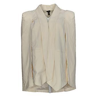 G.I.L.I Cape Blazer W/ Front Pockets Open Front Hi-Low Hem Ivory A286999