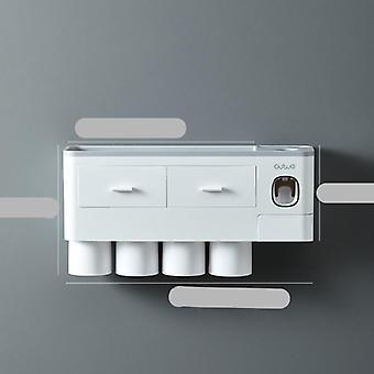 Automatische Muur Mount Tandpasta dispenser, tandenborstel houder met beker