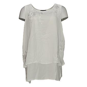 DG2 di Diane Gilman Women's Plus Top White Tunic Sleeveless 724-847