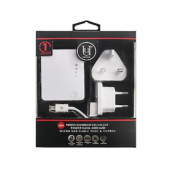 Mains Charger EU l UK l US single USB with Power Bank 4000 mAh and Micro USB Cable