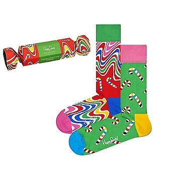 Happy Skarpety 2-Pack Psychedelic Candy Cane Skarpety Cracker Gift Box
