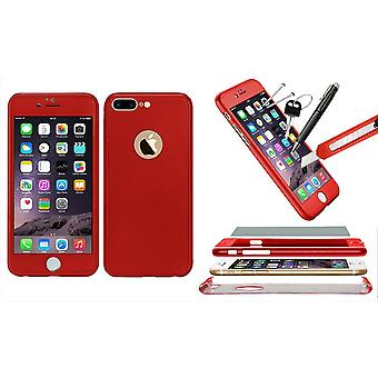 1x Hybrid 360 Nieuwe Shockproof Case Tempered Glass Cover voor iPhone 8+ - Rood