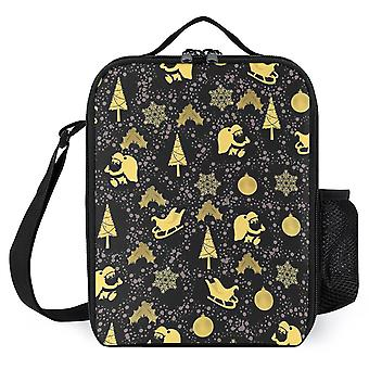 Golden Christmas Pattern Printed Lunch Bags