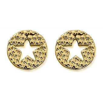 ChloBo GEST3098 Women's Gold Tone Sparkle Star In Circle Stud Earrings