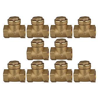 1/2 Inch Golden Brass Thread Female BSPP Swing Check Valve DN20 Pack of 10