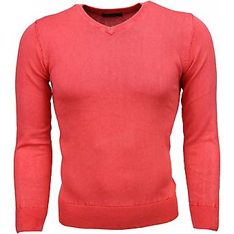 Casual Sweater - V-Neck - Pink Red