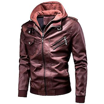 Men Spring Casual Motor Hooded ,pu Leather Jackets, Coat