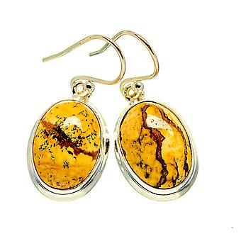 "Picture Jasper Earrings 1 1/4"" (925 Sterling Silver)  - Handmade Boho Vintage Jewelry EARR409359"