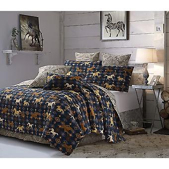 3Pcs Bedspread Novelty Wild & Free Navy Transitional King/Queen Size Quilt