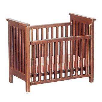 Dolls House Walnut Slatted Cot Crib Miniature 1:12 Nursery Baby Furniture