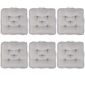 """Grey Pack of 6 Cotton Armchair Booster Cushion 4"""" Thick Seat Pad"""