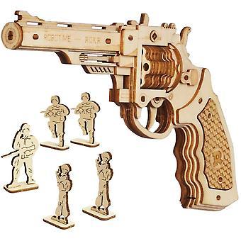 ROKR Wooden Rubber Band Gun Model Kits, Assembly 3D Wooden Puzzle, Gun Model Building Kits