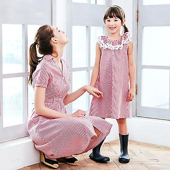 Red Strip Dress For Mother And Daughter