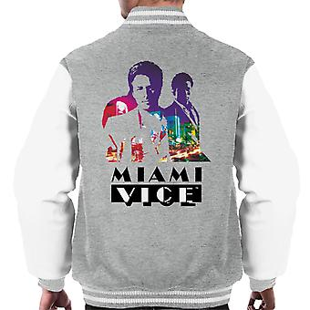 Miami Vice Sonny And Rico City Lights Silhouette Men's Varsity Jacket