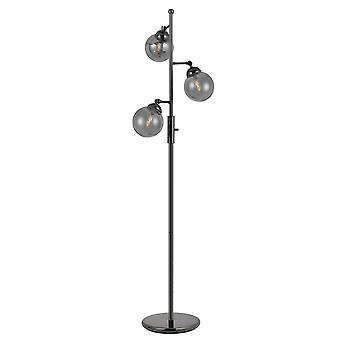 Lámpara de mesa de cuerpo de metal industrial con tres sombras de bolas de vidrio, negro