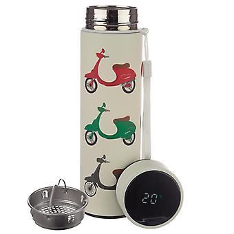 Sobre duas rodas scooter scooter aço inoxidável termômetro digital garrafa de bebidas isoladas