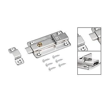 Slide Door  Latch Lock - Stainless Steel Brushed Spring Loaded Switch