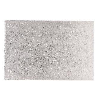 "20"" x 12"" (508 x 304mm) Cake Board Oblong Silver Fern - sencillo"