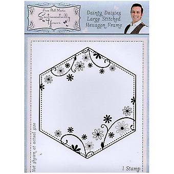 Sentimentally Yours Dainty Daisies Large Stitched Hexagon Frame Pre Cut Stamp